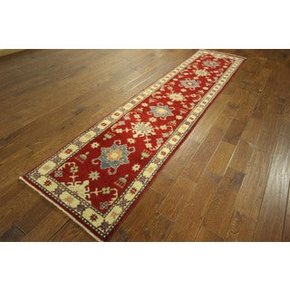 Unique Red/ Ivory Floral Super Kazak Runner Hand-knotted Wool Area Rug (3' x 11')
