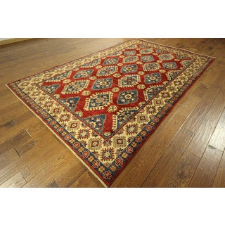 Mesa Collection Hand-knotted Red Super Kazak Wool Area Rug (7' x 10')