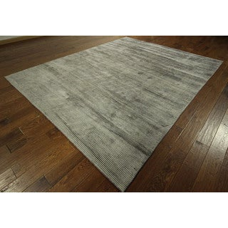 Ash Grey Hand-knotted Sari Collection Silk Area Rug (8' x 10')