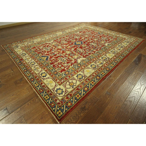 Baroque Geo Floral Red Super Kazak Hand-knotted Wool Area Rug (8' x 11')