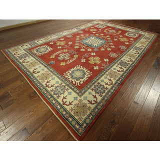Geo-floral Hand-knotted Red Super Kazak Wool Area Rug (9' x 13')