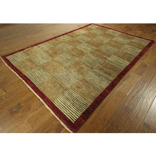 Shades of Brown Hand-knotted Checkered Super Fine Gabbeh Wool Area Rug (6' x 9')