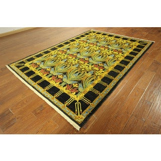 Super Fine William Morris Hand-knotted Suzani Black/ Green Rug (6' x 9')