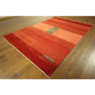 Modern Collection Orange Gabbeh Hand-knotted Wool Area Rug (7' x 10')