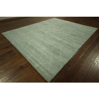 Geometric Blue-green Rabbat Moroccan Hand-knotted Wool Area Rug (9' x 10')