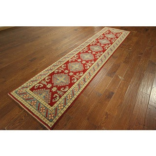 Red Runner Super Kazak Meadow Collection Hand-knotted Wool Rug (3' x 11')
