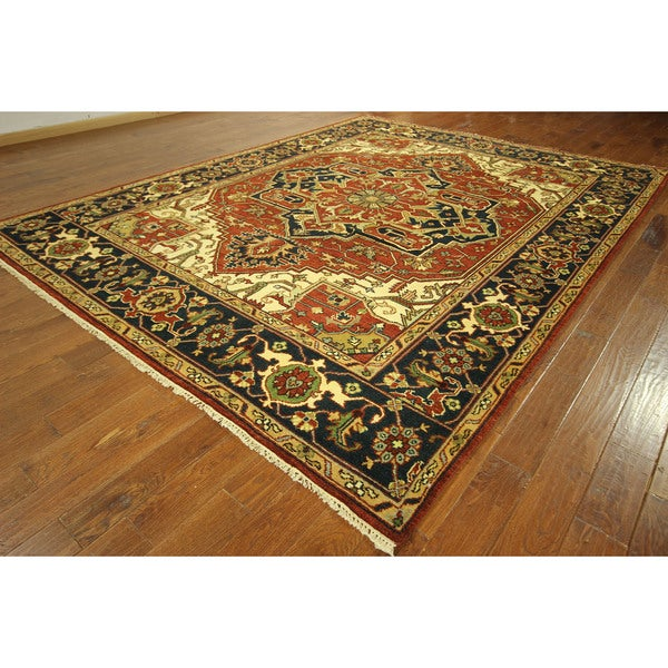 Vegetable Dyed Hand Knotted Floral Oushak Ivory Persian: Red Vegetable Dyed Persian Antiqued Heriz Serapi Hand