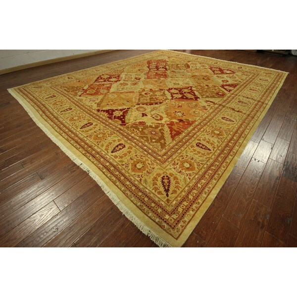 Hand knotted pakistani chobi style oushak collection wool for 12x12 living room rugs