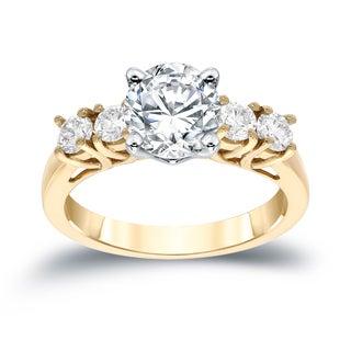 Auriya 14k Gold 1 1/2ct TDW 5-stone Diamond Ring (I-J, SI1-SI2)