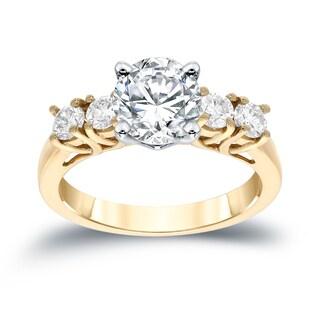 Auriya 14k Gold 1 1/2ct TDW Round 5-stone Diamond Engagement Ring