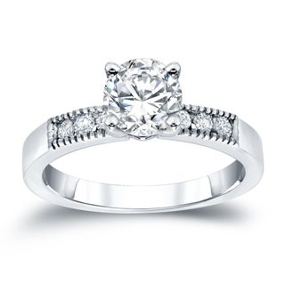 Auriya 14k White Gold 1/2ct TDW Round Cut Diamond Ring (H-I, SI2-SI3)
