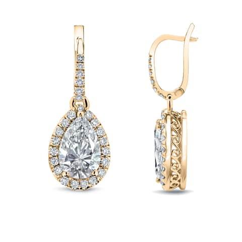 Auriya 14k Gold Vintage Pear-cut Halo Diamond Dangle Earrings 2 2/5ctw