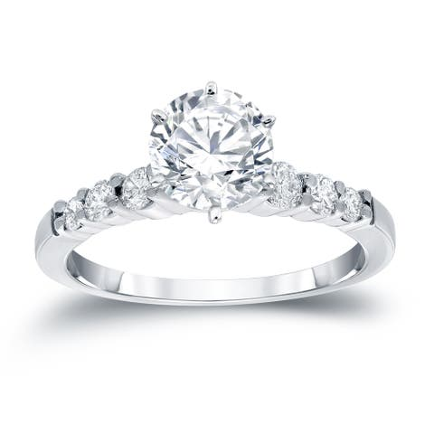 Auriya 14k Gold Round Side Stone Diamond Engagement Ring 3/4ctw