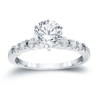 Auriya 14k White Gold 3/4ct TDW Round Diamond Engagement Ring