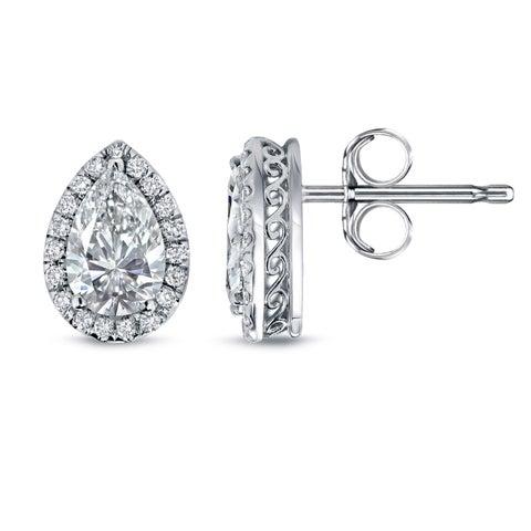 Auriya 14k Gold 2 1/3ct TDW Vintage Pear-Shaped Halo Diamond Stud Earrings