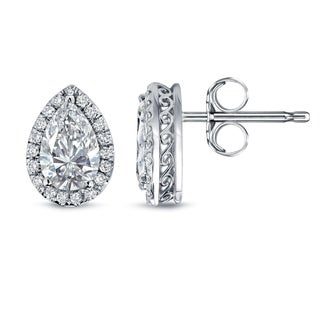 Auriya 14k White Gold 2 1/3ct TDW Pear Shape Diamond Studs (H-I, SI2-SI3)