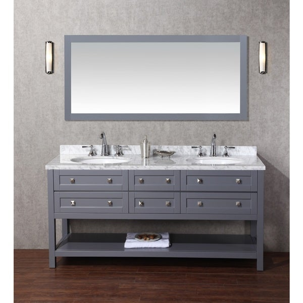 stufurhome marla 72 inch double sink bathroom vanity with mirror in