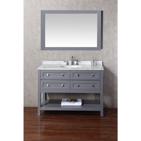 Stufurhome marla 48 inch single sink bathroom vanity with for 48 inch mirrored bathroom vanity