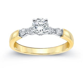 Auriya 14k Gold 3/4ct TDW Round Diamond Ring (H-I, SI2-SI3)