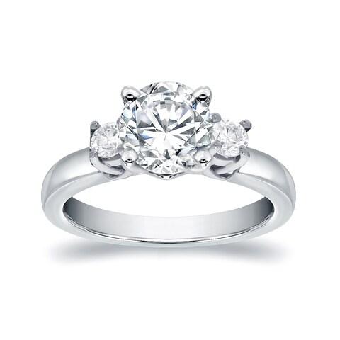 Auriya 14k White Gold 5/8ct TDW Round 3-Stone Diamond Engagement Ring