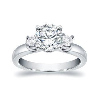 Auriya 14k White Gold 1/2ct TDW Round Diamond Engagement Ring (H-I, SI2-SI3)