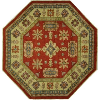 Geometric Oriental Octagon Red Super Kazak Hand-knotted Wool Area Rug (8' x 8', 8')