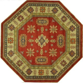 Traditional Octagon Red Oriental Super Kazak Hand-knotted Wool Area Rug (9', 9' x 9')