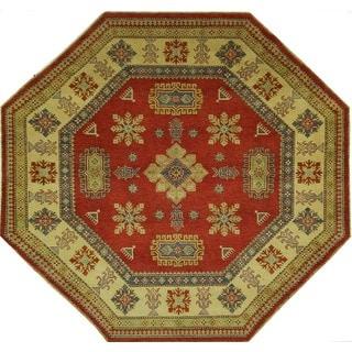 Oriental Geometric Red Octagon Super Kazak Hand-knotted Wool Area Rug (8' x 8', 8')