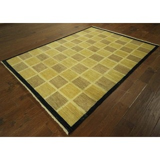 Earth Tone Checkered Design Gabbeh Hand-knotted Wool Area Rug (6' x 8')