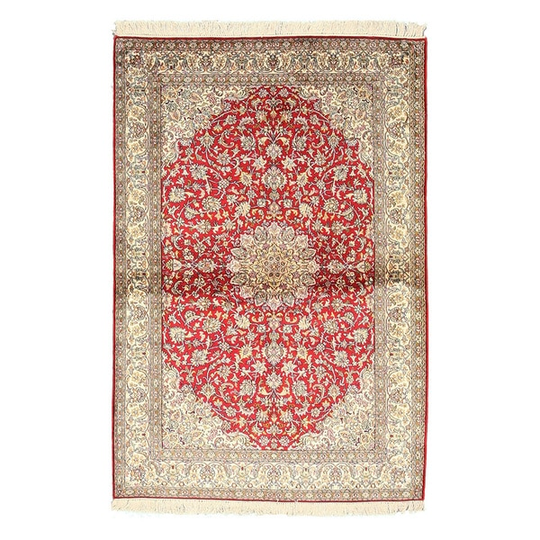 Hand-knotted Silk Red Traditional Oriental Kashmir Rug (4'1 x 6'2)