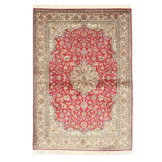 Hand-knotted Silk Red Traditional Oriental Kashmir Rug (4'2 x6') - 4' x 6'