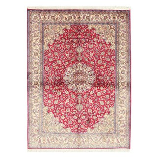 Hand-knotted Silk Red Traditional Oriental Kashmir Rug (5'2 x 6'11)
