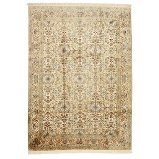 EORC Hand Knotted Silk Ivory Kashmir Rug (7'11 x 11')