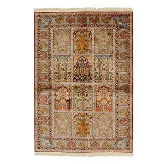 Hand-knotted Silk Traditional Oriental Panel Qum Rug (4'2 x 5'11) - Multi - 4' x 6'