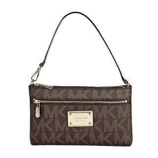 Michael Kors MK Logo Brown Large Wristlet
