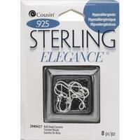 Sterling Elegance Genuine 925 Silver Beads & FindingsSmall Ball Hooked Earrings 8/Pkg