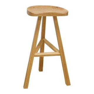 Mod Made Hemi Contemporary Natural Wood Contoured High Barstool for Bar (32-inch High)