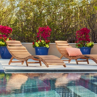 Lahaina Outdoor Acacia Wood Chaise Lounge by Christopher Knight Home (Set of 2)