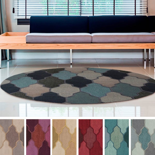 Hand-Tufted Ryde Moroccan Trellis Wool Rug (8' Round) - 8'