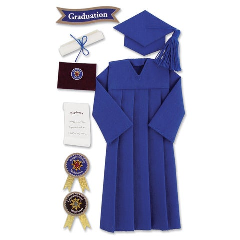 Jolee's Seasonal StickersGraduation Cap & Gown Blue