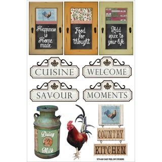 Country Kitchen Stickers 8inX5.25inSignage