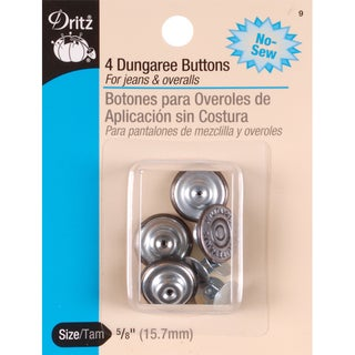NoSew Dungaree Buttons 5/8in 4/PkgCopper