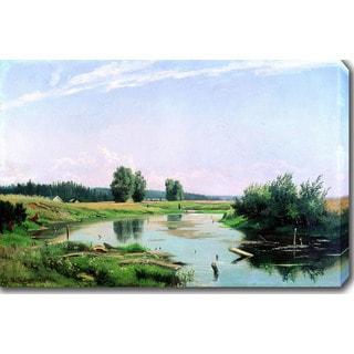 Ivan Shishkin 'Landscape with a Lake' Oil on Canvas Art