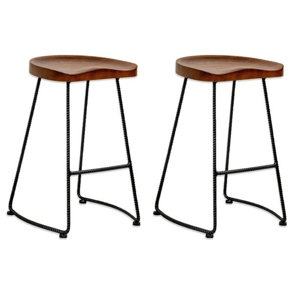 Potter Wood 26 Inch High Counter Stool Set Of 2 Free