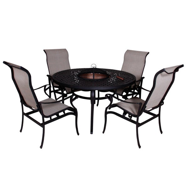 lorraine dining height fire pit table and chairs 5 piece set free shipping today overstock. Black Bedroom Furniture Sets. Home Design Ideas