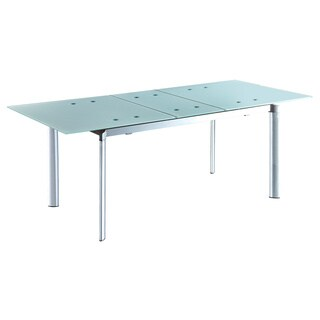 CAFE-407 EXTENDED FROSTED GLASS TABLE - Aqua