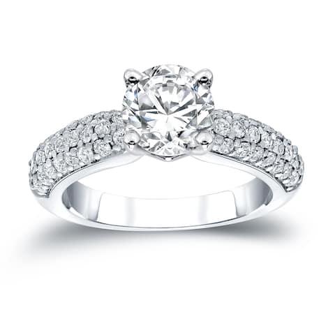 Auriya 1 1/2ctw Round Pave Diamond Engagement Ring 14K Gold Certified