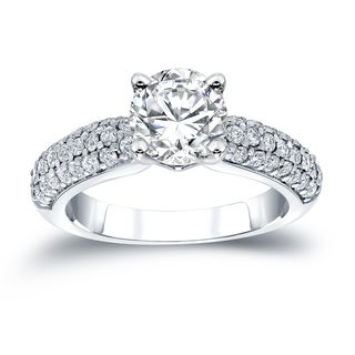 Auriya 14k White Gold 1 1/2ct TDW Certified Round Diamond Pave Engagement Ring