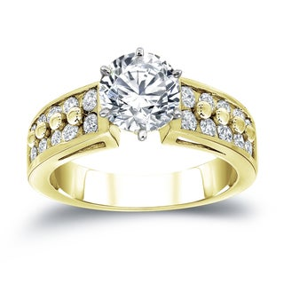Auriya 14k Two-Tone Gold 1ct TDW Round Diamond Engagement (H-I, SI2-SI3)