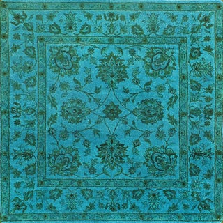 ABC Accent Traditional Light Blue Overdyed Wool Rug (4' x 4')